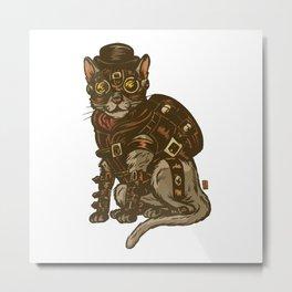 Steampunk Kitty Metal Print