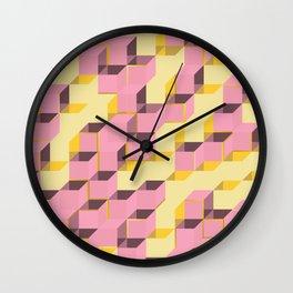 Pixel Cube - Pink Gold Wall Clock