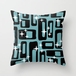 Retro Mid Century Modern Abstract Pattern 677 Black Turquoise Throw Pillow
