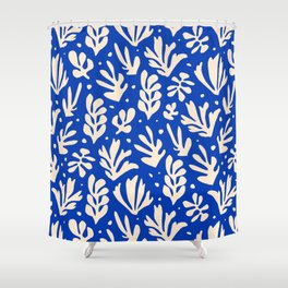 matisse pattern with leaves in blu Shower Curtain