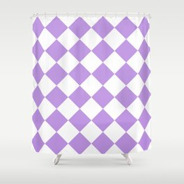 Large Diamonds - White and Light Violet Shower Curtain