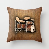 drums Throw Pillows featuring Hendrix  Drums by good music