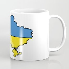Ukraine Map with Ukrainian Flag Coffee Mug