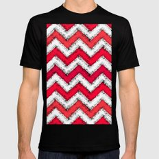 Red Chalk Chevron Black MEDIUM Mens Fitted Tee