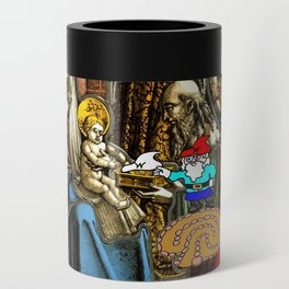 Will the Wandering Gnome Shares a White Hat with Jesus (Gnome Art) (Christmas Art) Can Cooler