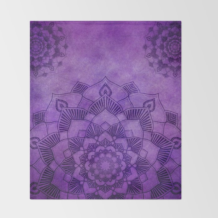 Deep Purple Lotus Mandala Throw Blanket