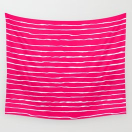Bright Pink and White Stripes Wall Tapestry