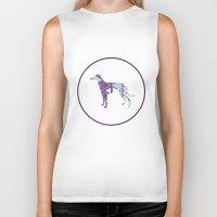 greyhound Biker Tanks featuring Greyhound Geometri by Simon Alenius