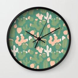Pink and Green Cacti Wall Clock