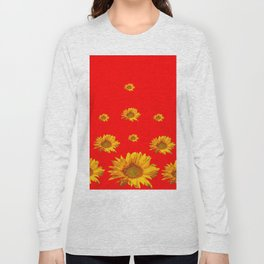 FLOATING GOLDEN YELLOW SUNFLOWERS RED COLOR Long Sleeve T-shirt