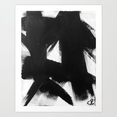 No. 92 - Modern abstract black and white textured painting Art Print