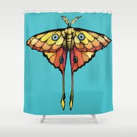 moth Shower Curtains featuring Moth by ChaoticWaffle