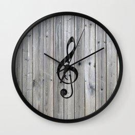 Vintage black music note Treble Clef gray wood Wall Clock