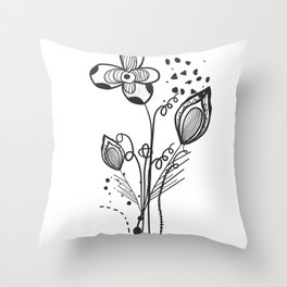Summer time abstract black flowers. Nature theme. Abstract tattoo design vector floral design Throw Pillow