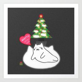 Merry Christmas cat 89 Art Print