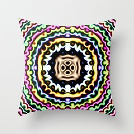 Warped soft edge neon spectrum pastel squashed rings Throw Pillow