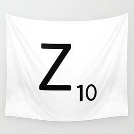 Letter Z - Custom Scrabble Letter Tile Art - Scrabble Z Initial Wall Tapestry