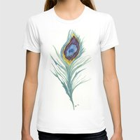 peacock feather T-shirts featuring Peacock Feather by Paxelart