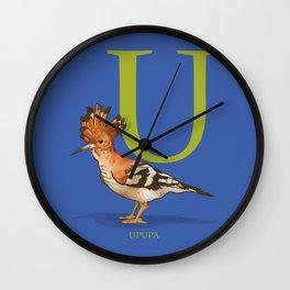 U is for Upupa: Under Appreciated Animals™ ABC nursery decor cobalt blue unusual animals Wall Clock