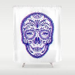 Sugar Skull (Calavera) Chromatic Aberration - Cyan Magenta Shower Curtain