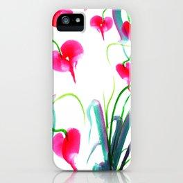 Pink flower pattern iPhone Case