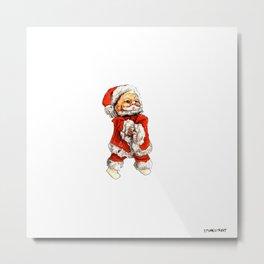 Santa Claus Figurine Christmas Ornament Metal Print