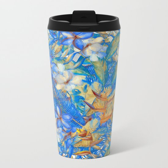 My Blue Aloha Tropical Flower Hibiscus Garden on #Society6 Metal Travel Mug