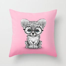 Cute Snow Leopard Cub Wearing Glasses on Pink Throw Pillow
