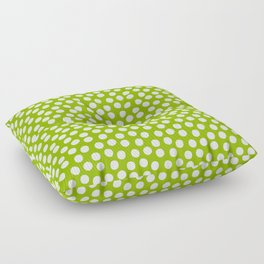 White Polka Dots on Fresh Spring Green- Mix & Match with Simplicty of life Floor Pillow