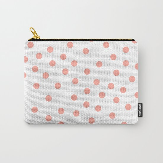 Simply Dots in Salmon Pink on White Carry-All Pouch