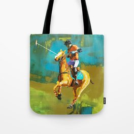 poloplayer abstract turquoise ochre Tote Bag