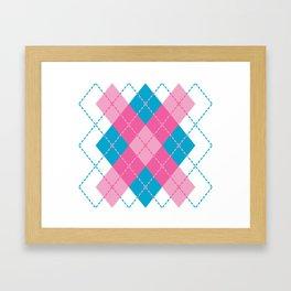 Pink-Blue Argyle Design Framed Art Print