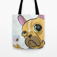 frenchie Tote Bags featuring Frenchie by Kandus Johnson
