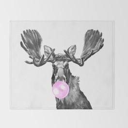 Bubble Gum Moose in Black and White Throw Blanket