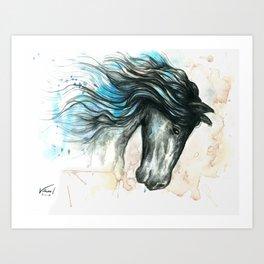 Blue friesian 2 Art Print