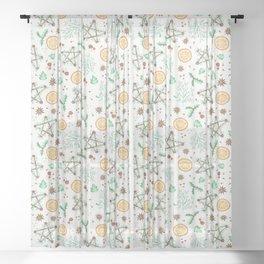 Pagan Yule Solstice Pattern Sheer Curtain