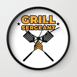 Grill Sergeant - Barbecue BBQ Grilling Meat Wall Clock