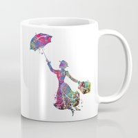 mary poppins Mugs featuring Mary Poppins by Bitter Moon