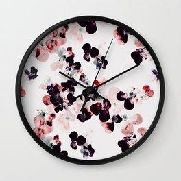 Red and Black Pansies petals Wall Clock