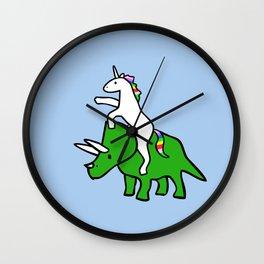Unicorn Riding Triceratops Wall Clock