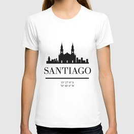 SANTIAGO DE CHILE BLACK SILHOUETTE SKYLINE ART T-shirt