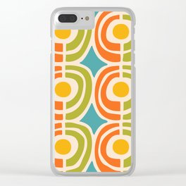 Mid Century Modern Solar Flares Pattern 2 Clear iPhone Case