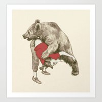 wrestling Art Prints featuring bear wrestling by themicromentalist
