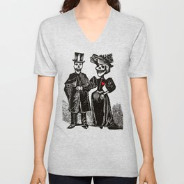 Calavera Couple | Skeleton Couple | Calaveras | Vintage Couple | Victorian Gothic | Unisex V-Neck
