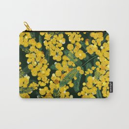 Seamless pattern with with yellow mimosa flowers and leaves. Hand draw spring flowers. Botanical pattern with mimosa branches. Romantic elegant pattern with yellow flowers. Spring blooming floral.  Carry-All Pouch
