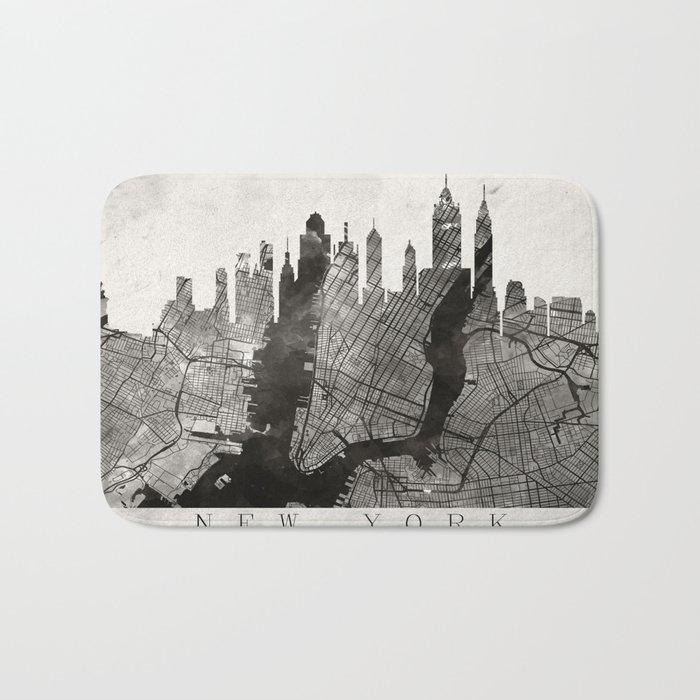 New York Skyline + Map #3 Bath Mat
