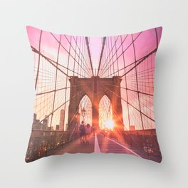 NYC Brooklyn Bridge Throw Pillow