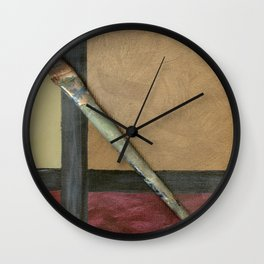 Artist Brush On Abstract Copper Canvas Artwork - Vintage - Modern Art - Painter Wall Clock
