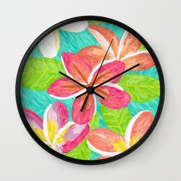Plumeria love Wall Clock