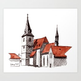 A Calm Czech Village Colored in Sienna Art Print